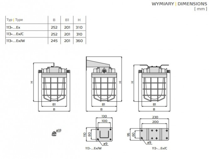 Oprawa przeciwwybuchowa 113-03 Ex do stref 1,21; 2, 22 - wymiary