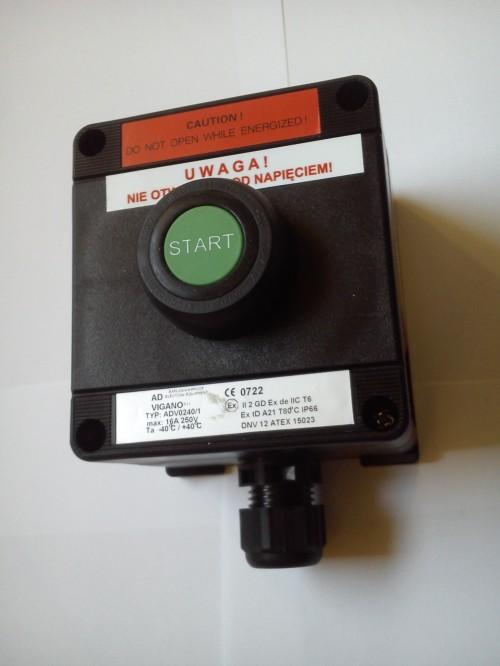 Kaseta przeciwwybuchowa ADV0240/1-P1 START sterownicza Ex pojedyńcza, przycisk zwierny kryty zielony