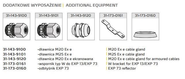 Przeciwwybuchowa oprawa metal-halogenowa do stref 1,21,2,22 EXP 73 - akcesoria dodatkowe