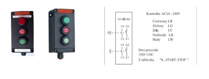 Kaseta przeciwwybuchowa ADV0240 3 sterownicza Ex START STOP LAMPKA