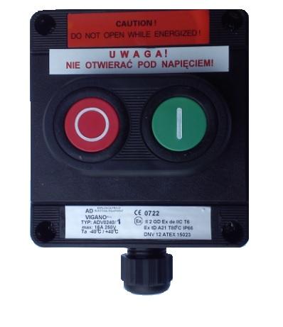 Kaseta przeciwwybuchowa START STOP sterownicza Ex ADV0240 1-P2