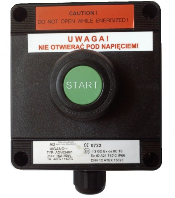 Kaseta przeciwwybuchowa START przycisk zwierny kryty zielony