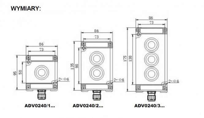 Kaseta przeciwwybuchowa ADV0240 sterownicza Ex - Wymiary