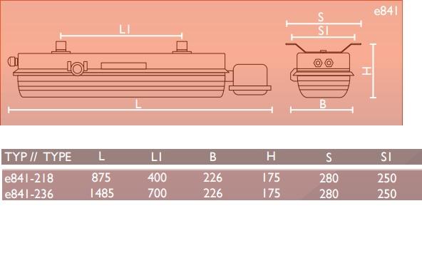 Oprawa przeciwwbyuchowa awaryjna e841 - Wymiary