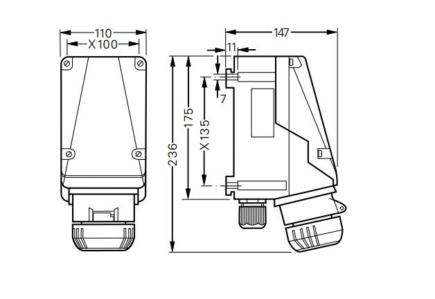 Gniazdo GHG 511 4406 R001 przeciwwybuchowe Ex 4x16A 380V - Wymiary