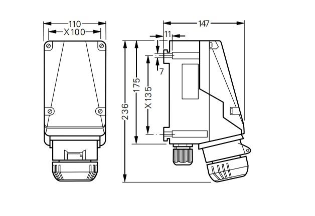 Gniazdo GHG 511 4506 R001 przeciwwybuchowe Ex 5x16A 415V - Wymiary