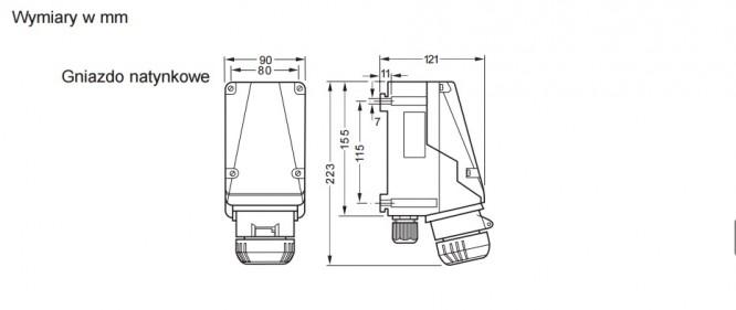 Gniazdo GHG 511 4306 R001 przeciwwybuchowe Ex 3x16A, 250V - Wymiary