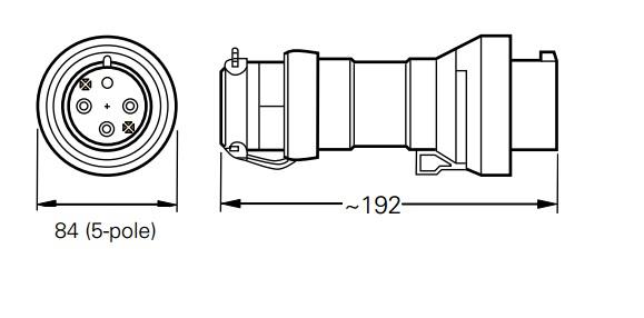 Wtyczka GHG 511 7506 przeciwwybuchowa Ex  415V - Wymiary