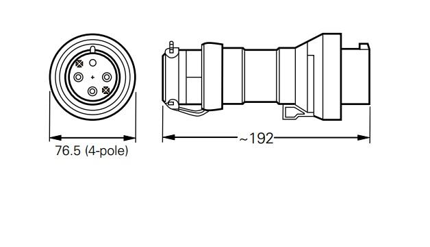 Wtyczka GHG 511 7406 R001 przeciwwybuchowa Ex 4x16A 380V - Wymiary