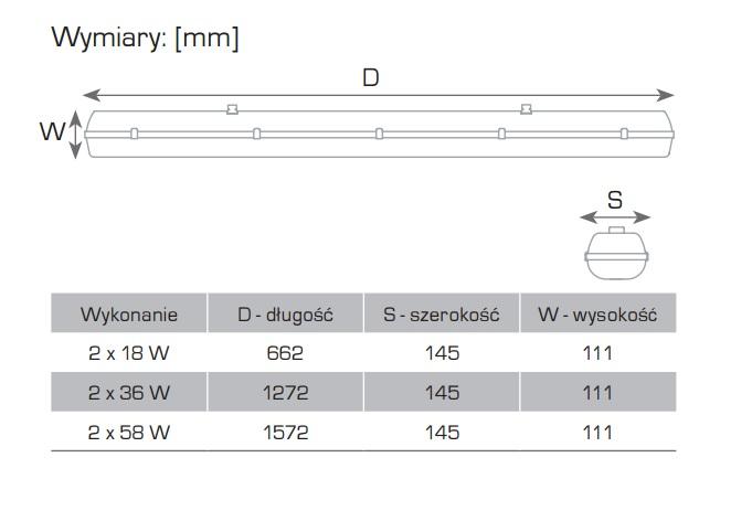 SELENA Ex Oprawa przeciwwybuchowa świetlówkowa do stref 2;22 - Wymiary