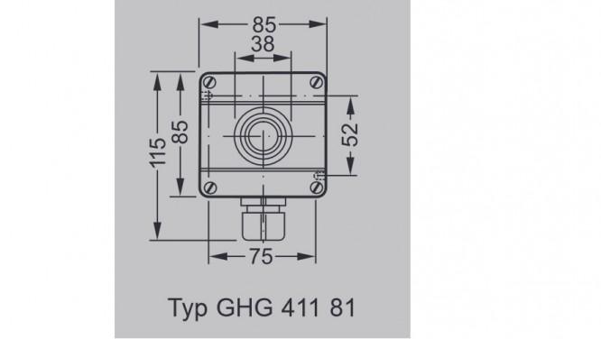 Kaseta przeciwwybuchowa GHG 411 Przycisk awaryjny dłoniowy STOP - Wymiary